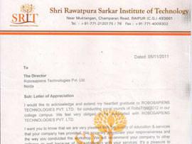 Robotics workshop appreciation letter by Shri Rawatpura Sarkar Institute of Technology