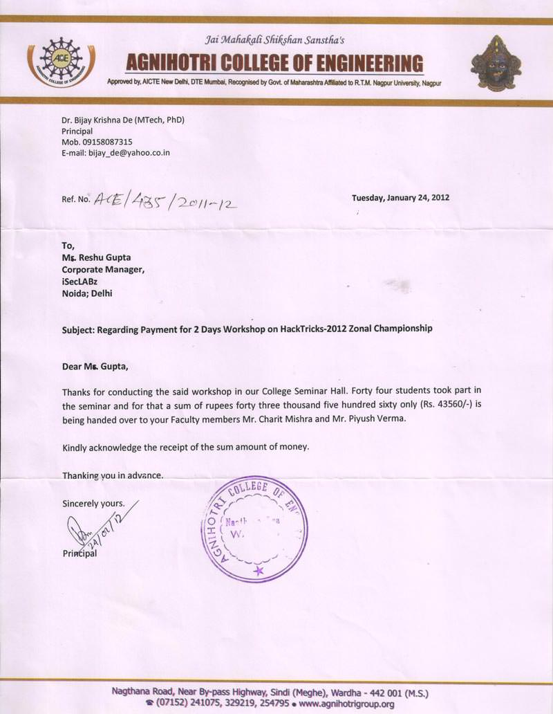 Robotics workshop appreciation letter by Agnihotri College of Engineering