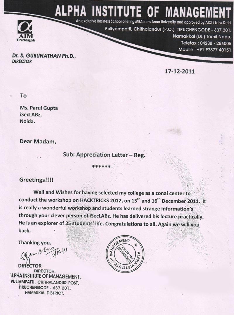 Robotics workshop appreciation letter by Alpha Institute of Management