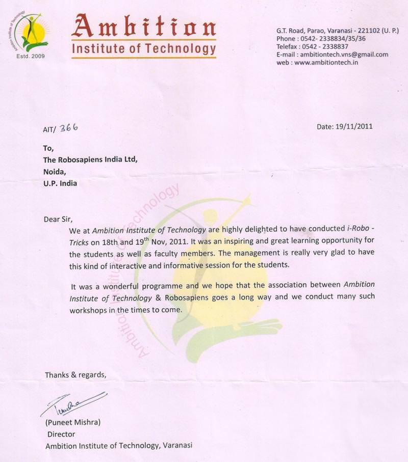 Robotics workshop appreciation letter by Ambition Institute of Technology