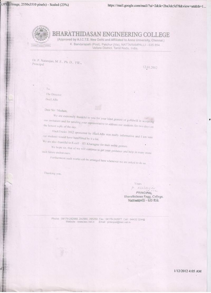 Robotics workshop appreciation letter by Bharathidasan Engineering College