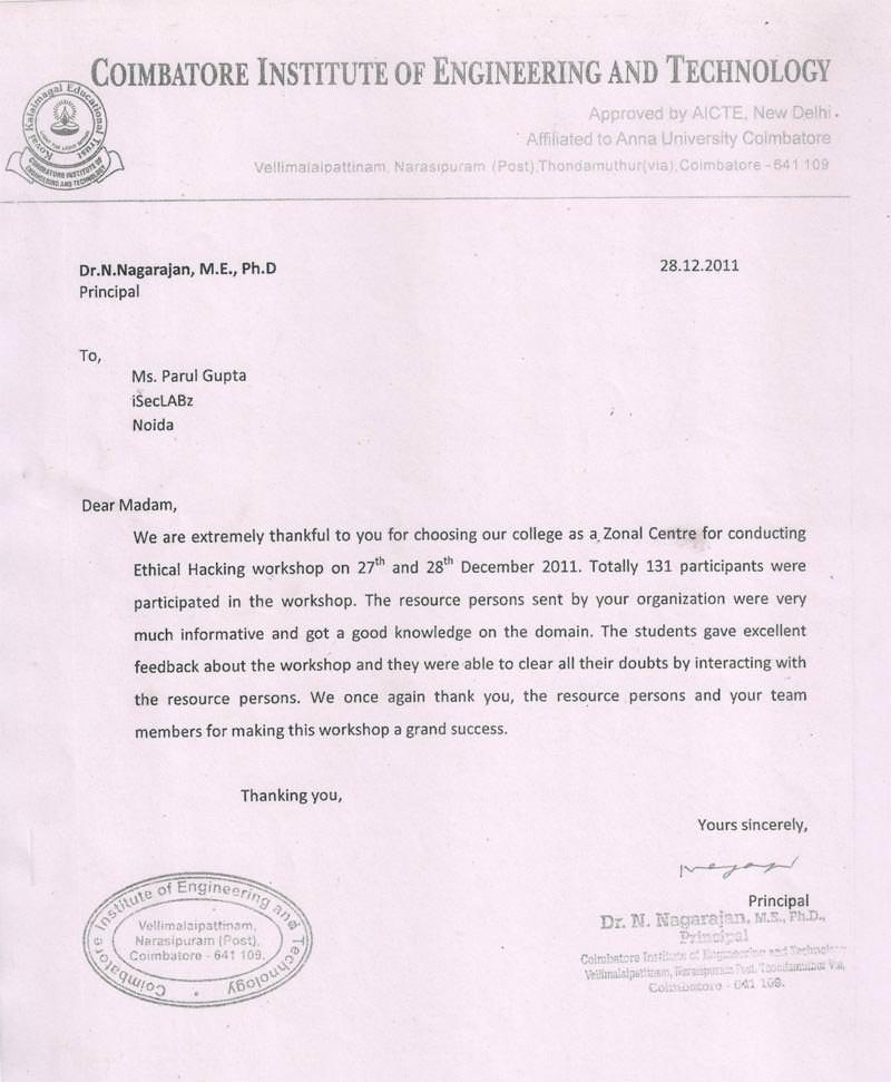 Robotics workshop appreciation letter by Coimbatore Institute of Engineering