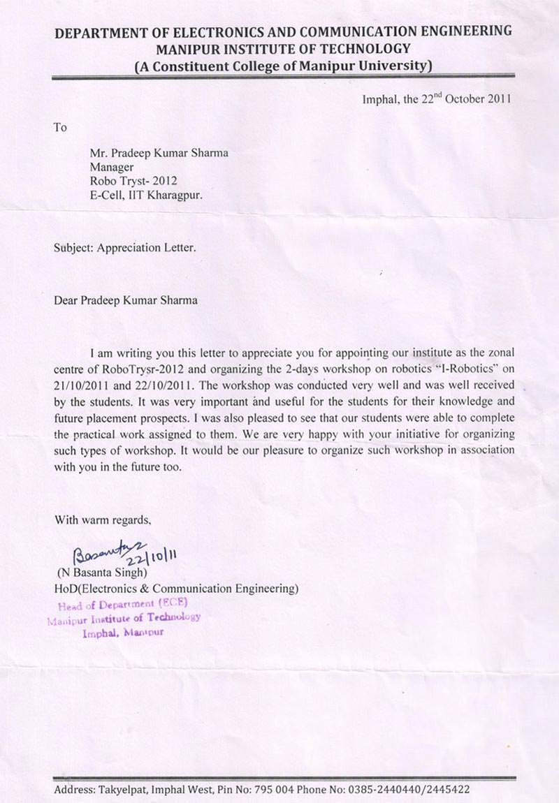 Robotics workshop appreciation letter by Department of Electronics and Communication