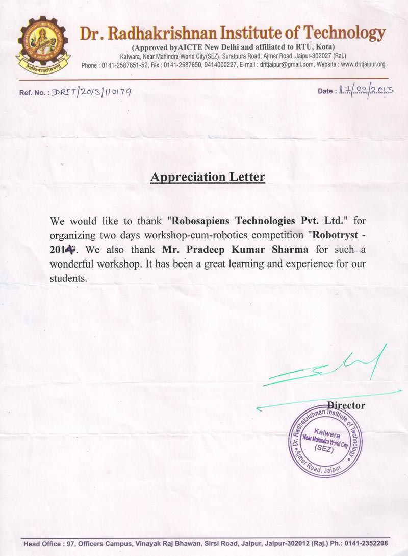 appreciation letter for excellent Robotics workshop