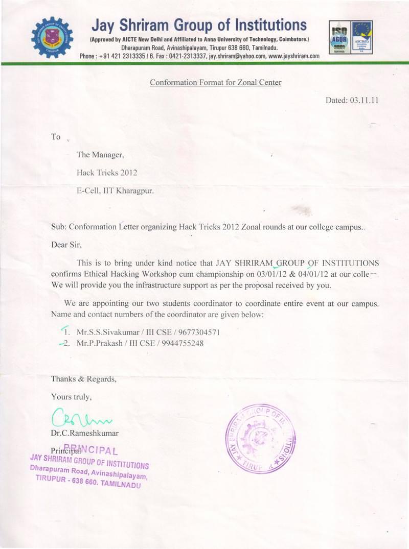 Robotics workshop appreciation letter by Jay Shriram Group of Institutions