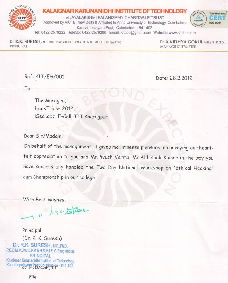 Robotics workshop appreciation letter by Kalaignar Karunanidhi Institute of Technology