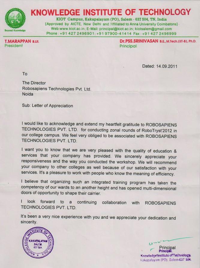 robotics recognition training letter