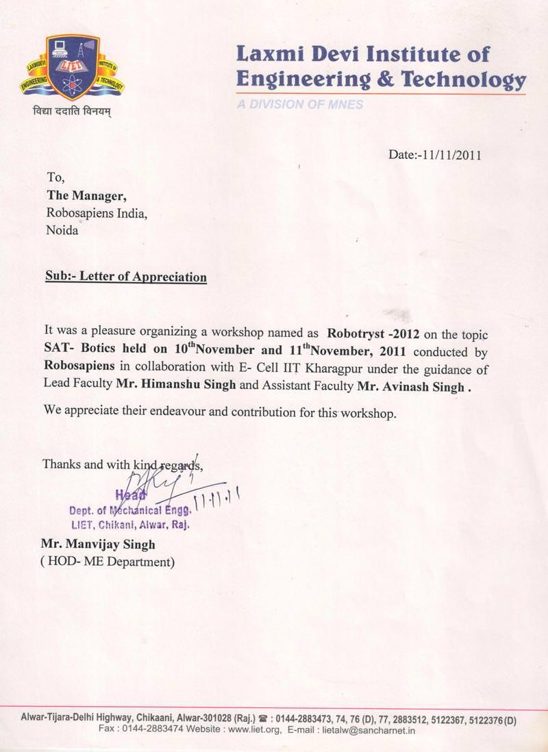 Robotics workshop appreciation letter by Laxmi Devi Institute