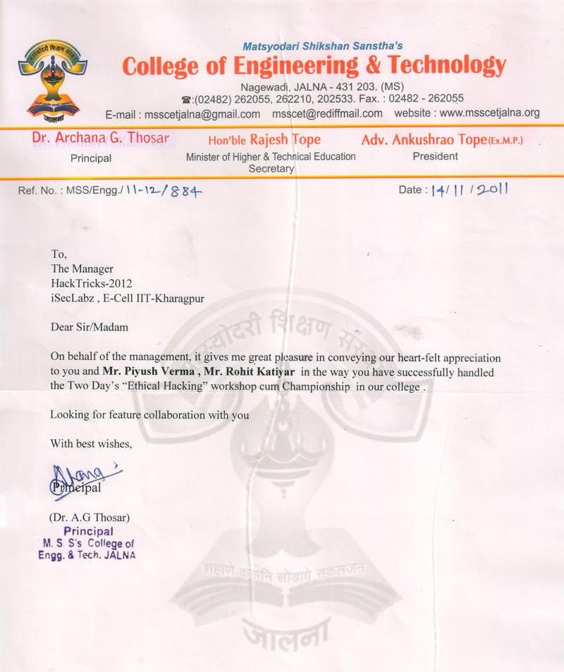 Robotics workshop appreciation letter by Matsyodari Shikshan Sanstha