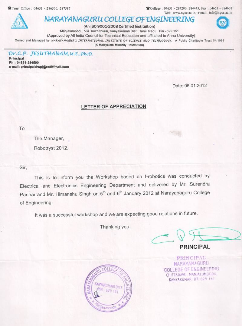 Robotics workshop appreciation letter by Narayanaguru College of Engineering