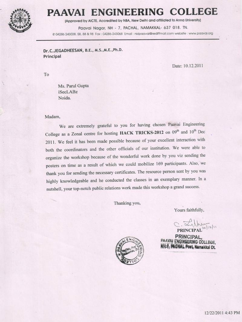 Robotics workshop appreciation letter by Paavai Engineering College