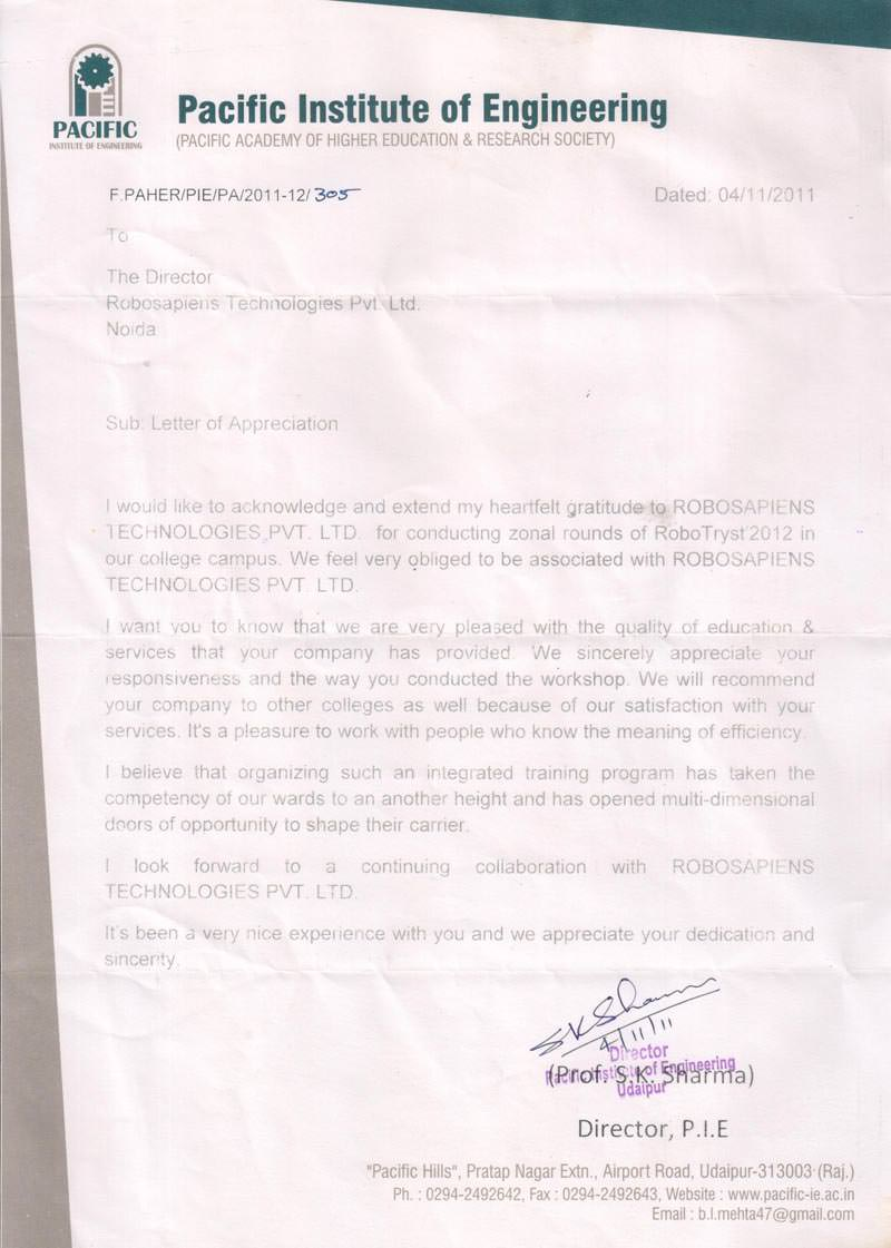 Robotics workshop appreciation letter by Pacific Institute of Engineering