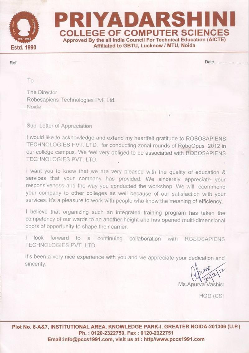 Robotics workshop appreciation letter by Priyadarshini College of Computer Sciences