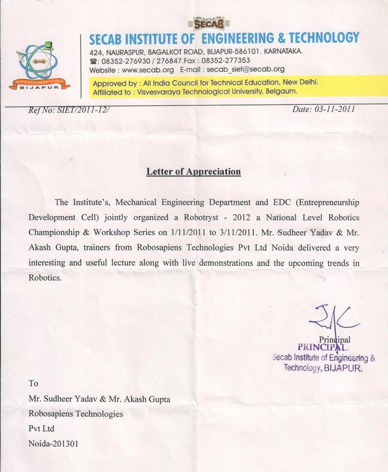 Robotics workshop appreciation letter by SECAB