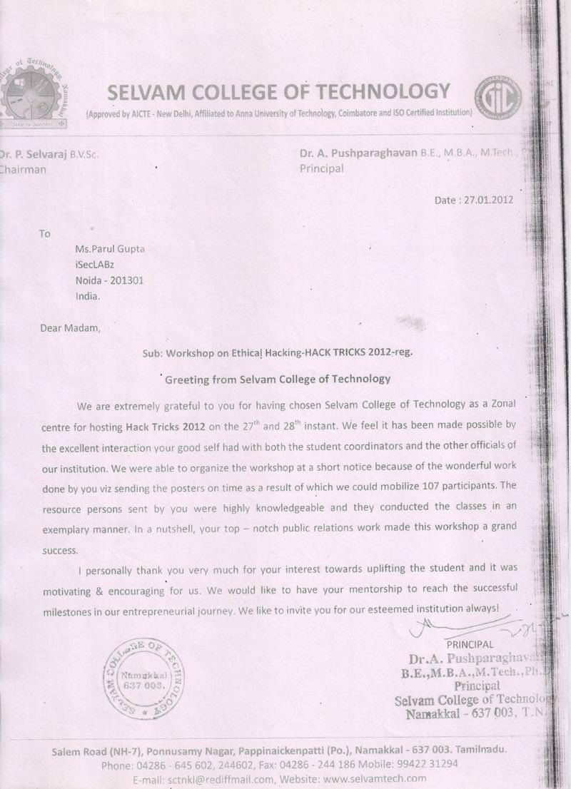 Robotics workshop appreciation letter by Selvam College of Technology