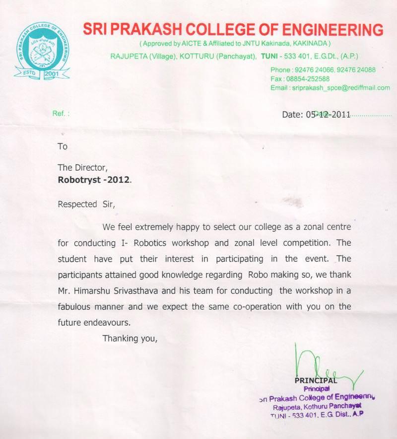 Robotics workshop appreciation letter by Sri Prakash College of Engineering