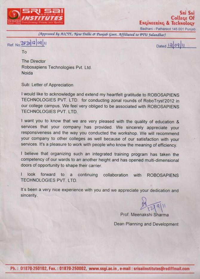 appreciation letter for Robotics workshop