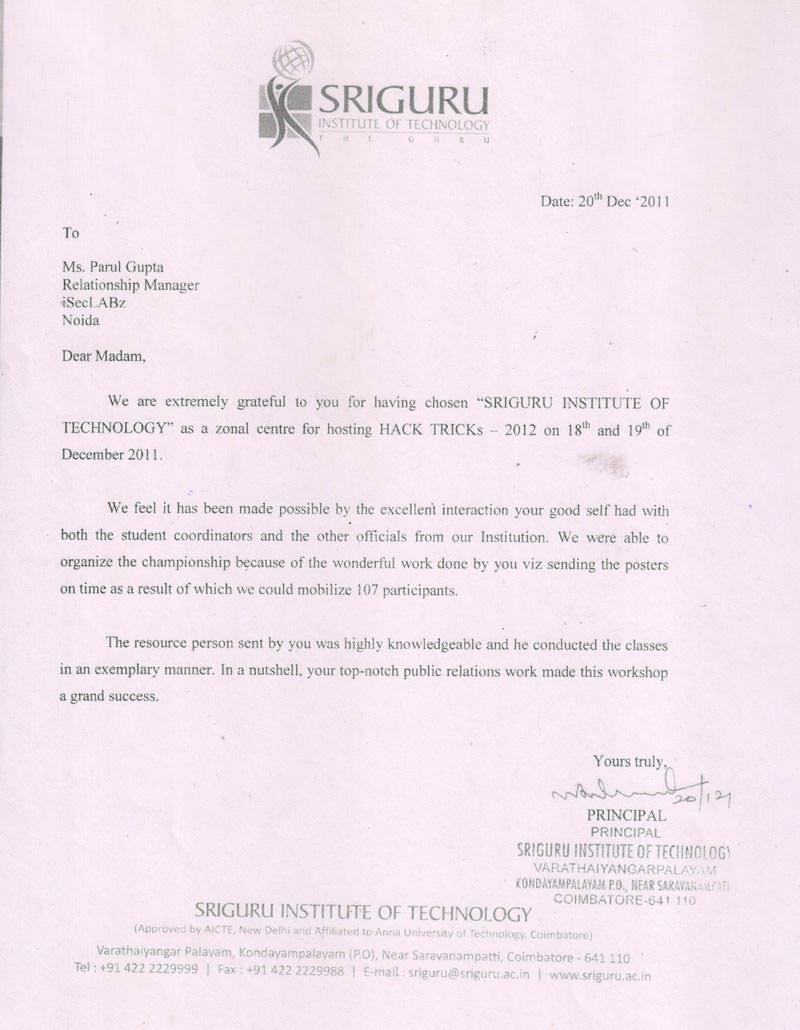 Robotics workshop appreciation letter by Sriguru Institute of Technology