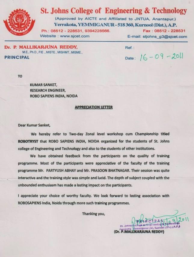 Robotics workshop appreciation letter