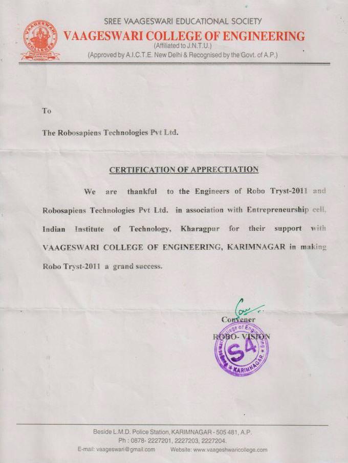 Robotics workshop appreciation letter for robosapiens