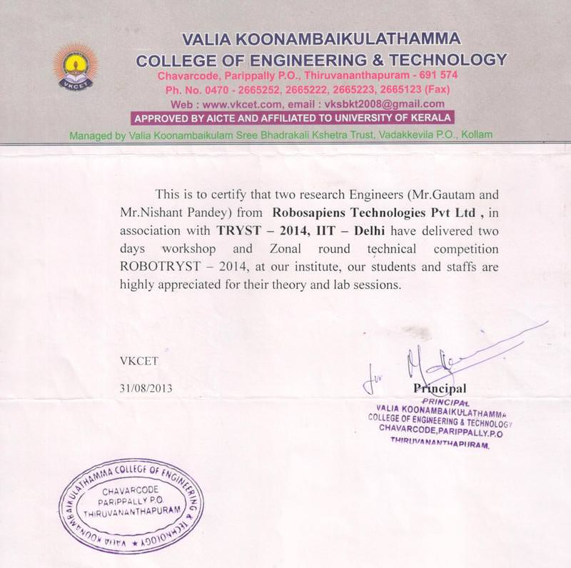 Robotics workshop appreciation letter by Engineering College