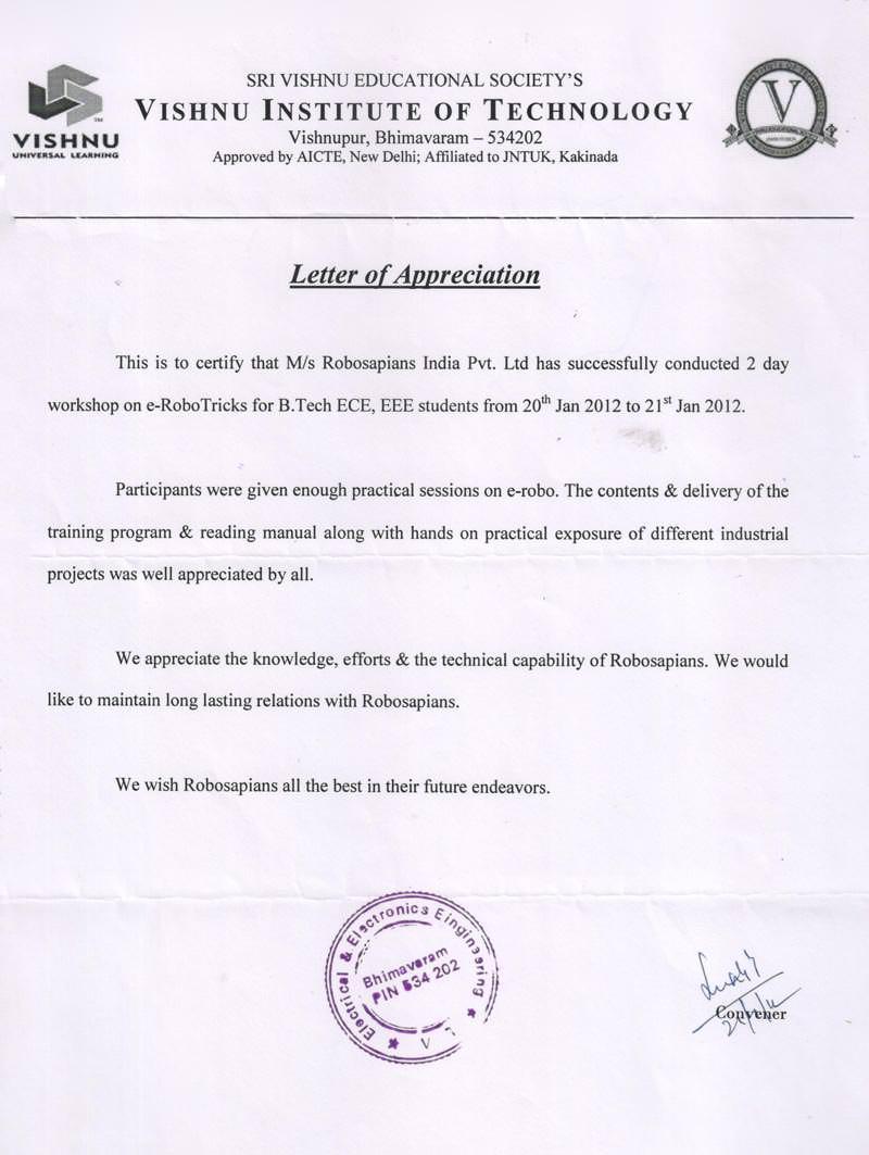 Robotics workshop appreciation letter by Vishnu Institute of Technology