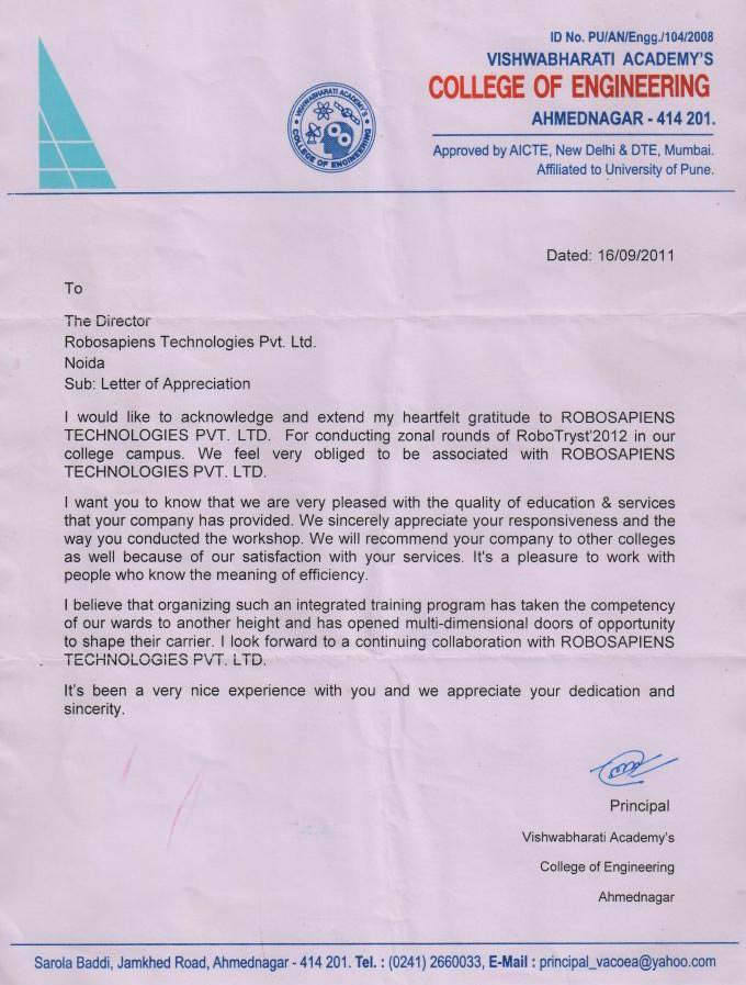 Robotics workshop appreciation letter by Vishwabharati Academy College of Engineering
