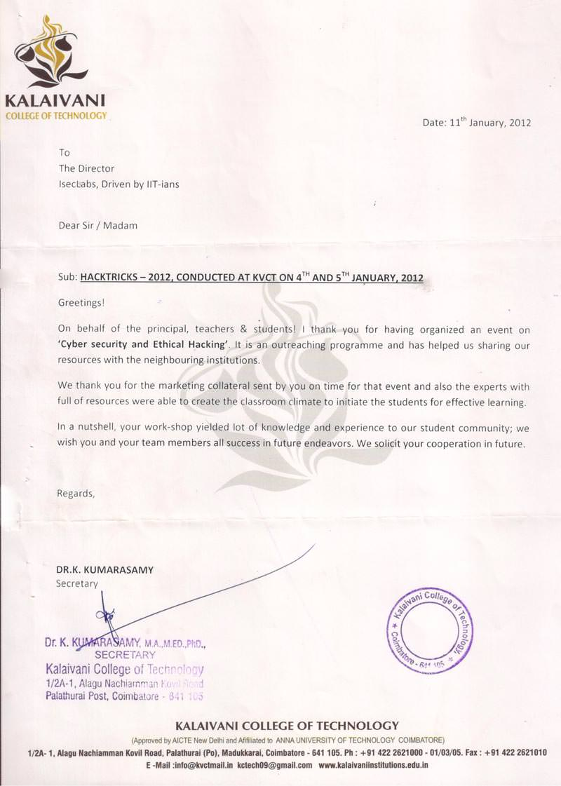 Robotics workshop appreciation letter by Kalaivani College of Technology