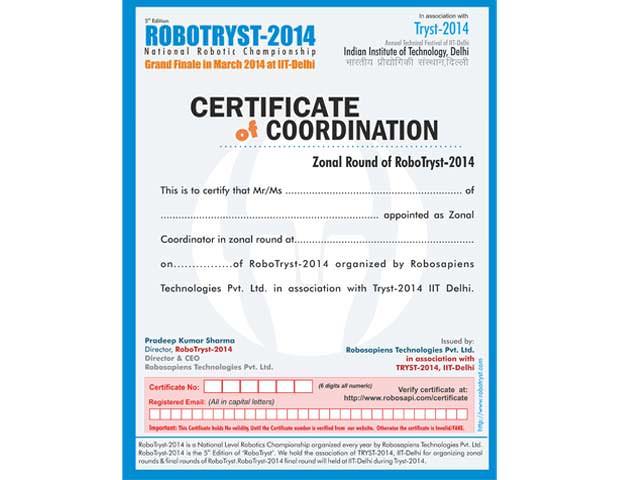 Robosapiens Certificate of Coordination